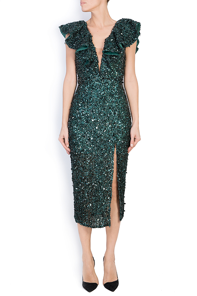 Ingrid ruffled sequined gown M Marquise image 0
