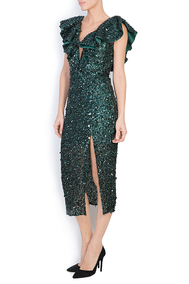 Ingrid ruffled sequined gown M Marquise image 1