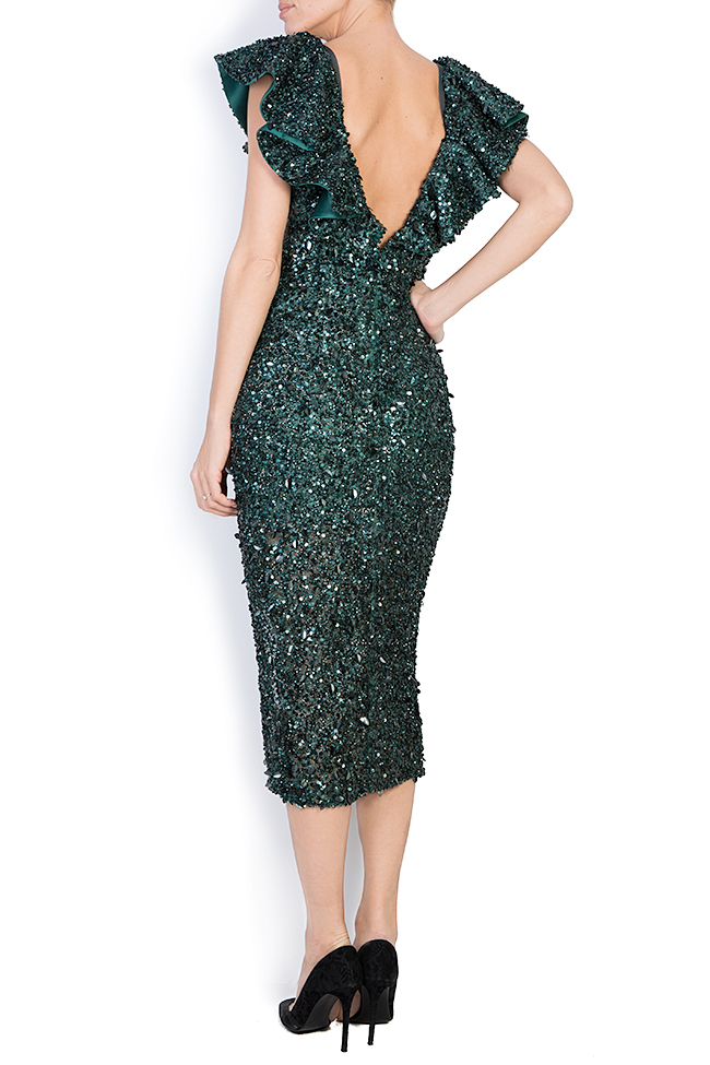 Ingrid ruffled sequined gown M Marquise image 2