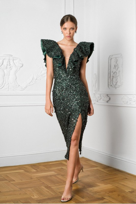Ingrid ruffled sequined gown M Marquise image 4