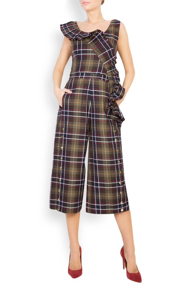 Checked ruffled embellished wool jumpsuit Izabela Mandoiu image 0