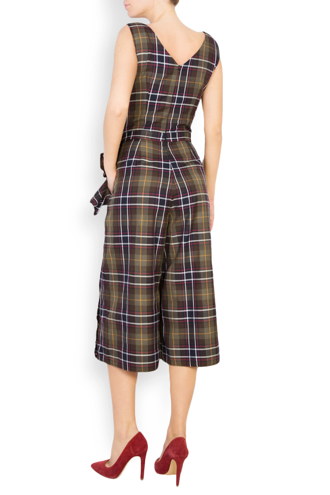 Checked ruffled embellished wool jumpsuit Izabela Mandoiu image 2