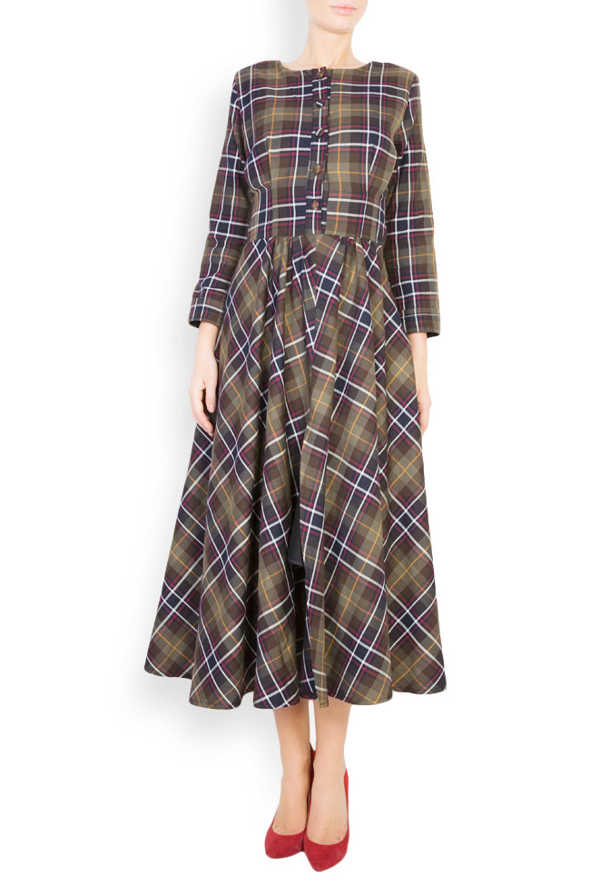 Checked button-embellished wool dress Izabela Mandoiu image 0