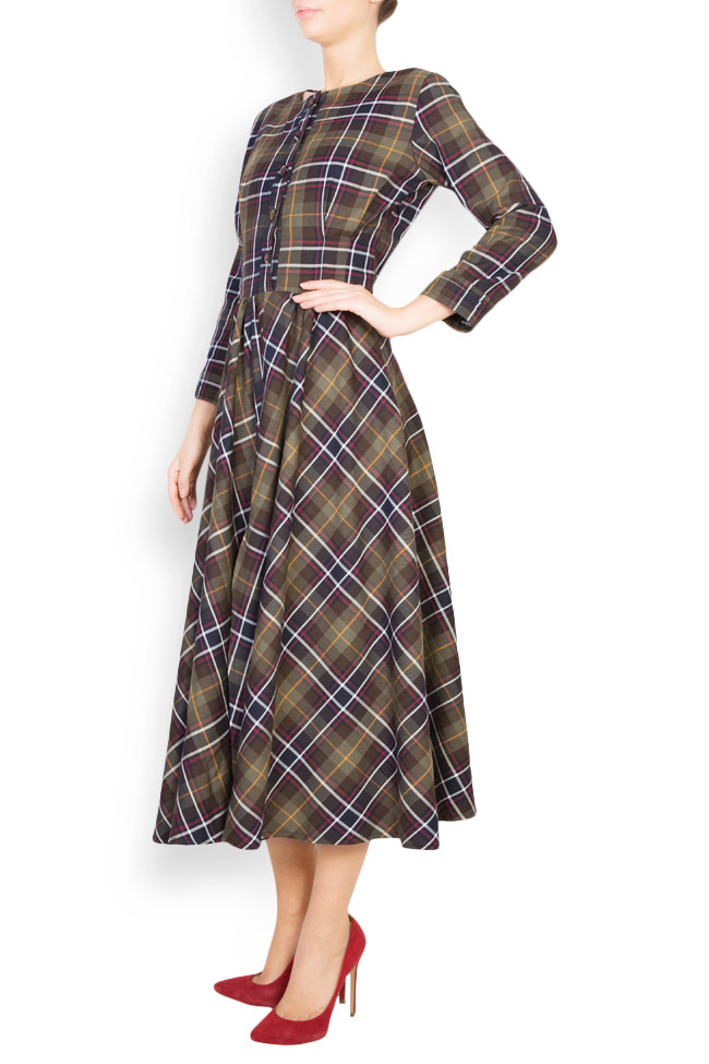 Checked button-embellished wool dress Izabela Mandoiu image 1