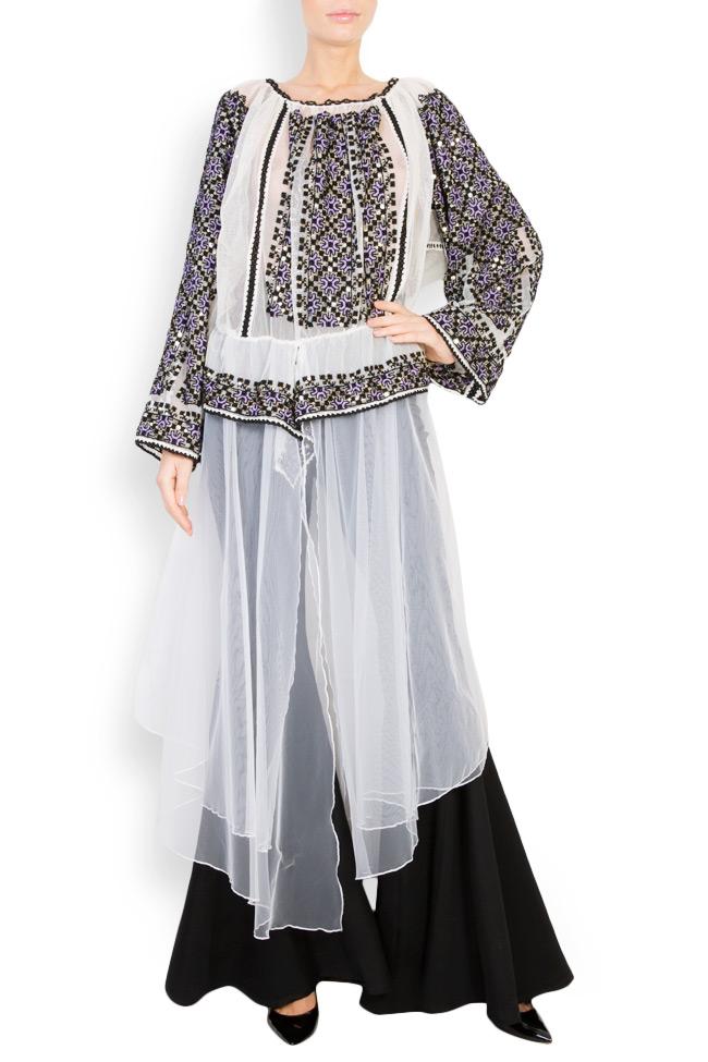 Tulle-embellished handmade blouse Izabela Mandoiu image 0