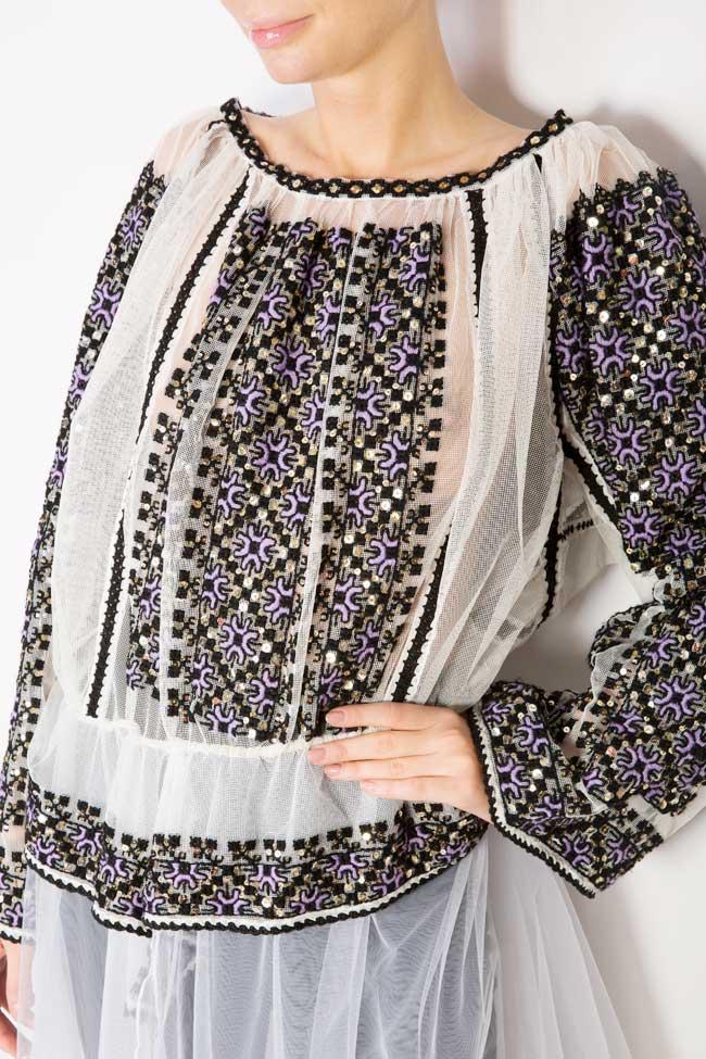 Tulle-embellished handmade blouse Izabela Mandoiu image 3