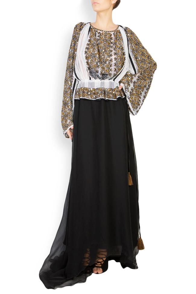 Silk-blend handmade embroidered maxi dress Izabela Mandoiu image 0