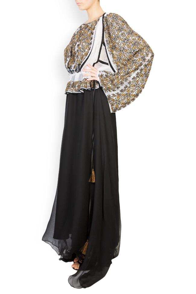Silk-blend handmade embroidered maxi dress Izabela Mandoiu image 1