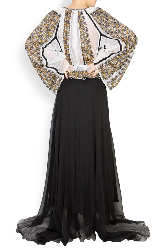 Silk-blend handmade embroidered maxi dress Izabela Mandoiu image 2