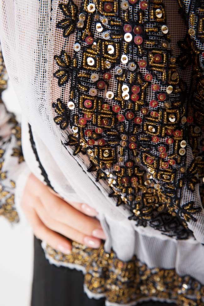 Silk-blend handmade embroidered maxi dress Izabela Mandoiu image 3