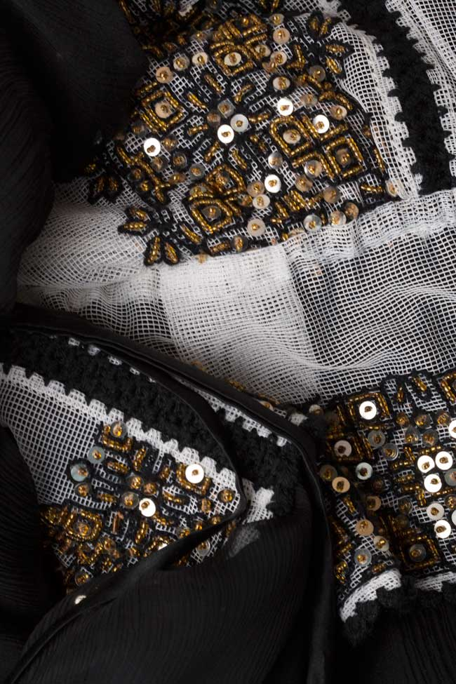Silk-blend handmade embroidered maxi dress Izabela Mandoiu image 4