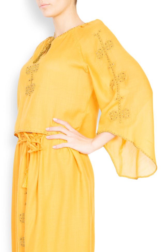 Bluza tip ie brodata manual din lana merinos Izabela Mandoiu imagine 1