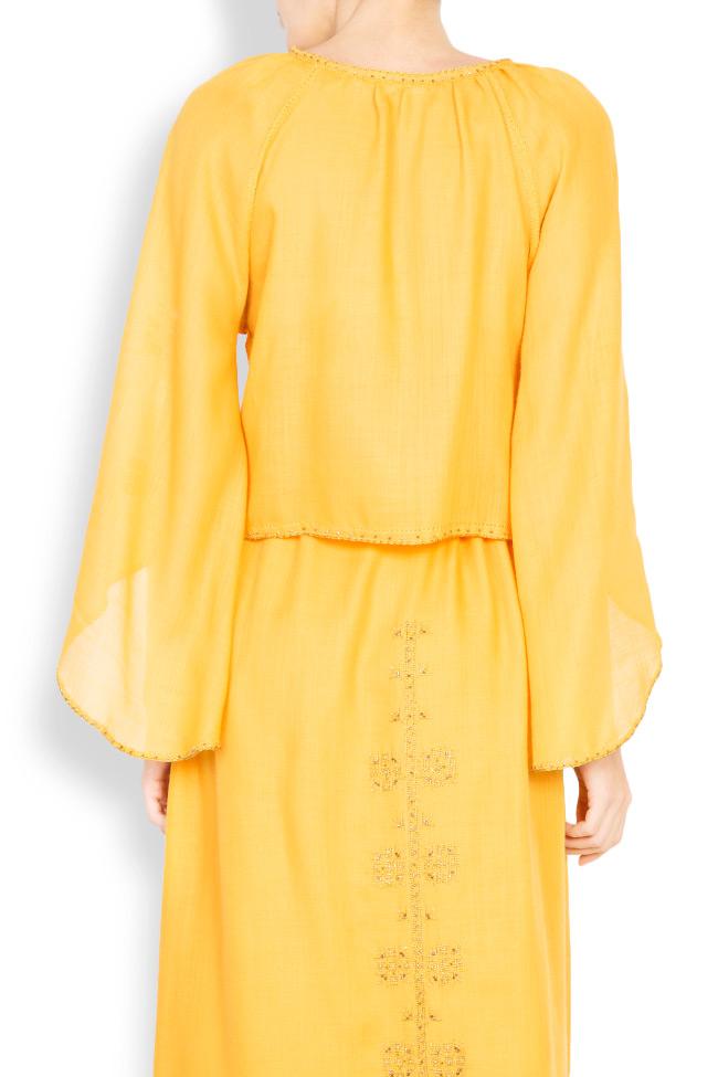 Blouse brodée à la main en laine mérinos Izabela Mandoiu image 2