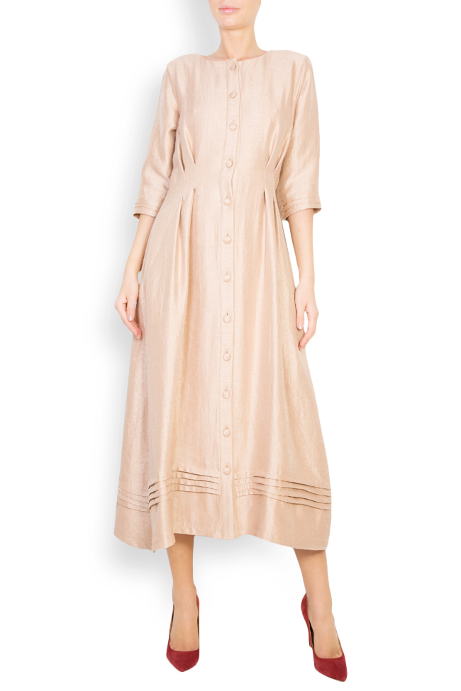 Button-embellished wool-blend midi dress Izabela Mandoiu image 0