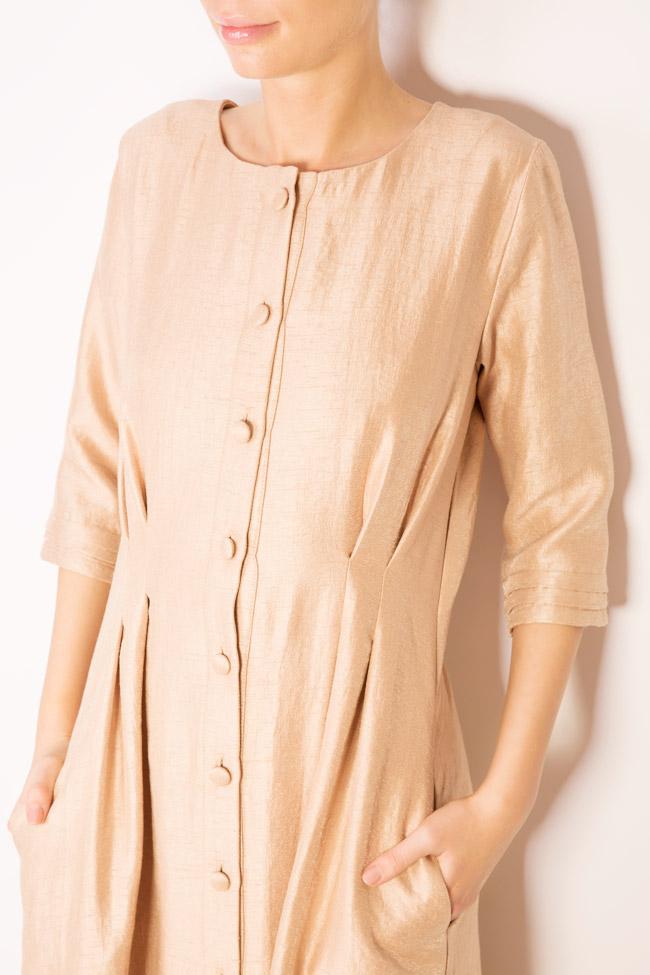 Button-embellished wool-blend midi dress Izabela Mandoiu image 3