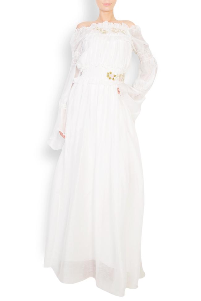 Robe en soie à épaules dénudées et fleurs appliquées Izabela Mandoiu image 0