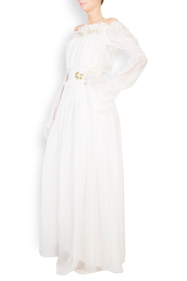 Robe en soie à épaules dénudées et fleurs appliquées Izabela Mandoiu image 1