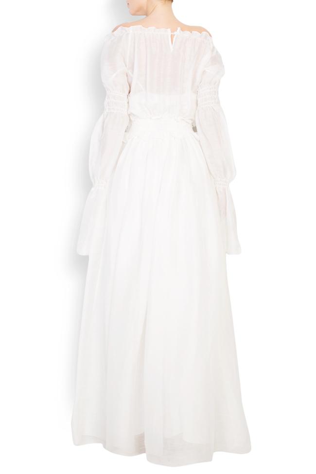 Embroidered off-the-shoulder silk maxi dress Izabela Mandoiu image 2