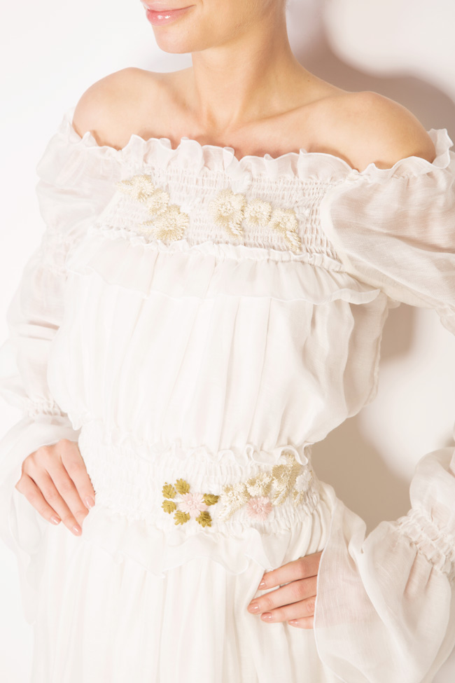 Robe en soie à épaules dénudées et fleurs appliquées Izabela Mandoiu image 3