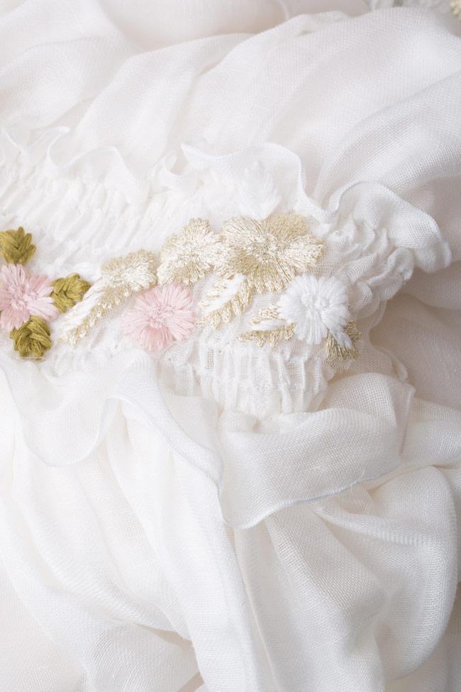 Robe en soie à épaules dénudées et fleurs appliquées Izabela Mandoiu image 4
