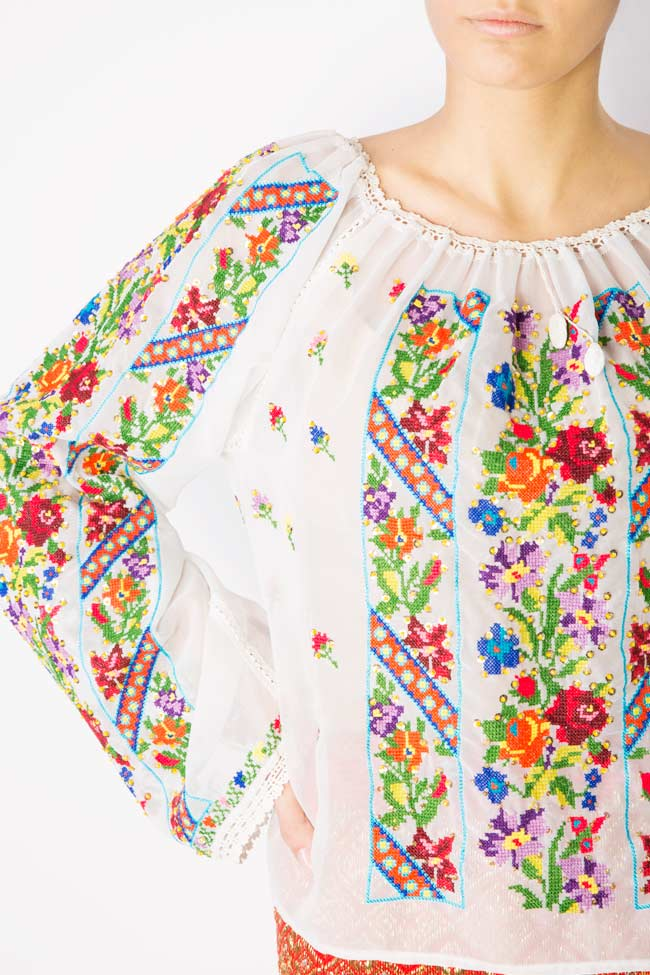 Multicolored embroidered blouse Izabela Mandoiu image 3