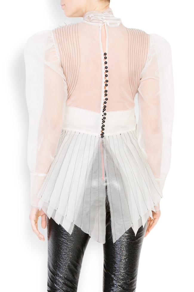 Bow and crystal embellished silk organza shirt LUWA image 2