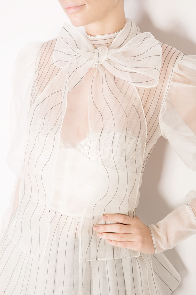 Bow and crystal embellished silk organza shirt LUWA image 3
