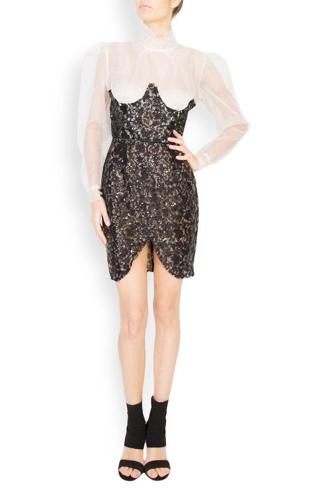 Embellished sequinned lace silk mini dress LUWA image 0