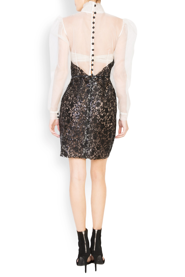 Embellished sequinned lace silk mini dress LUWA image 2
