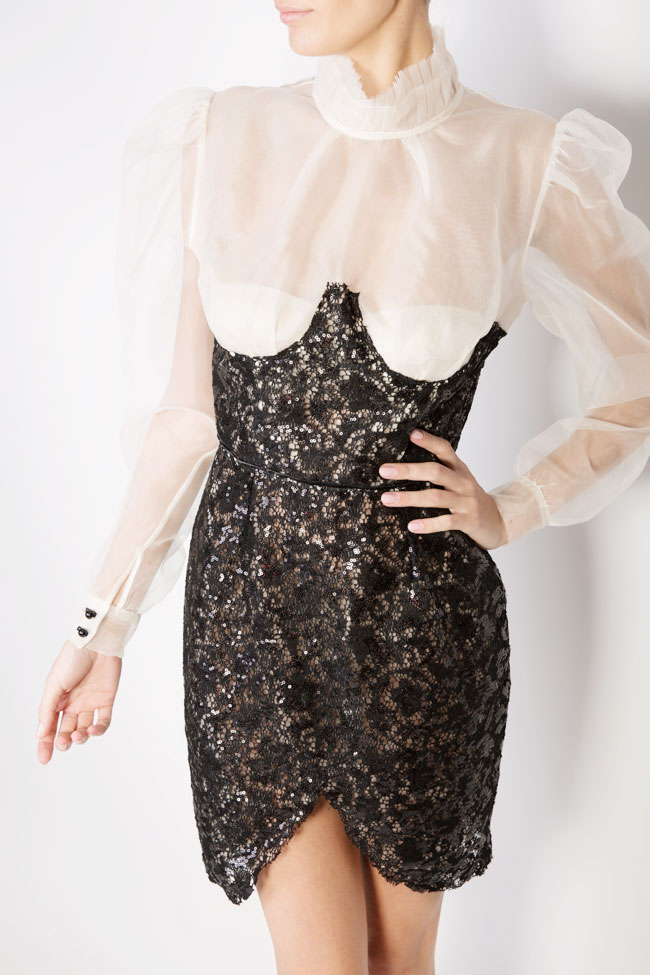 Embellished sequinned lace silk mini dress LUWA image 3