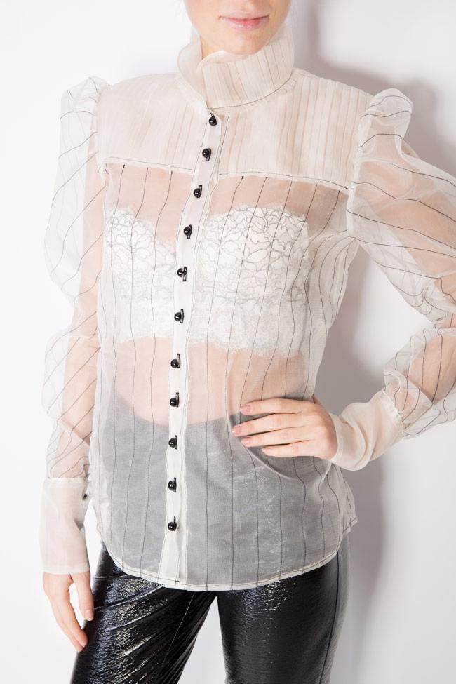 Victorian button-embellished silk organza shirt LUWA image 3
