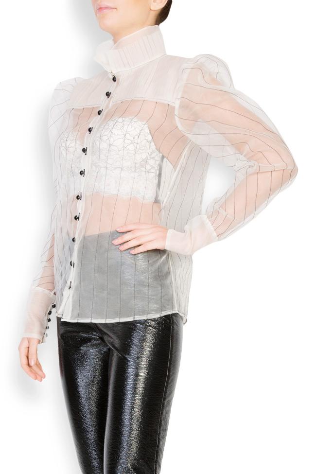 Victorian button-embellished silk organza shirt LUWA image 1