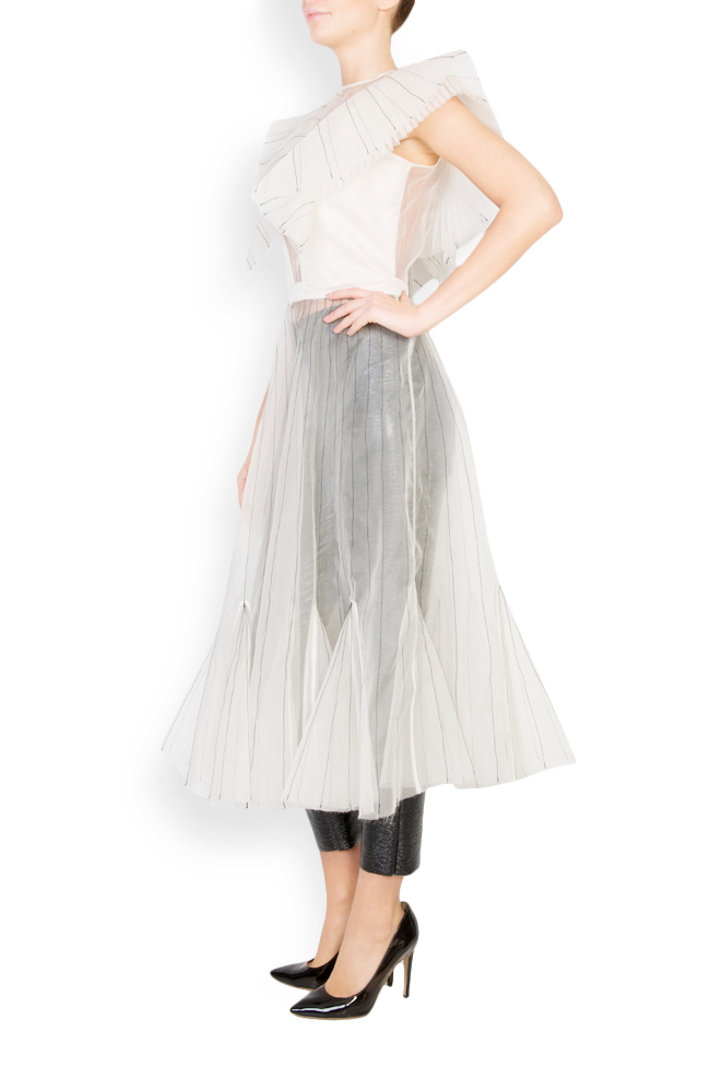 Overlaid lapels embellished silk organza dress LUWA image 3