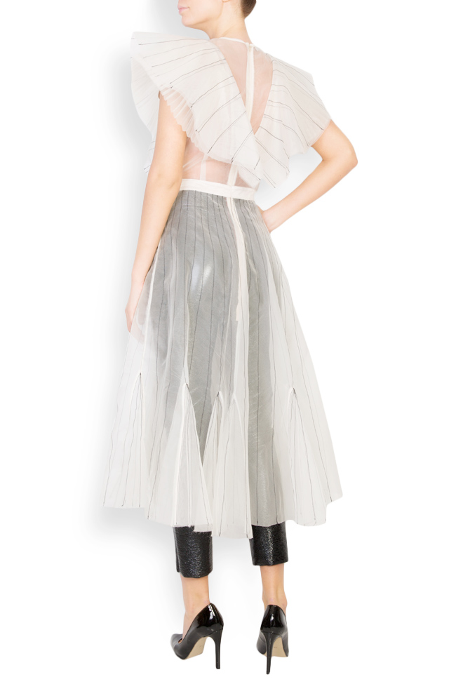 Overlaid lapels embellished silk organza dress LUWA image 4