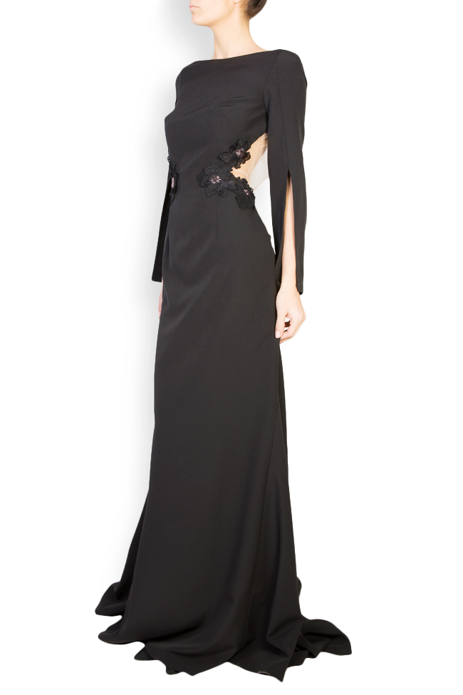 Lucretia flower-embroidered crepe maxi dress Maia Ratiu image 1