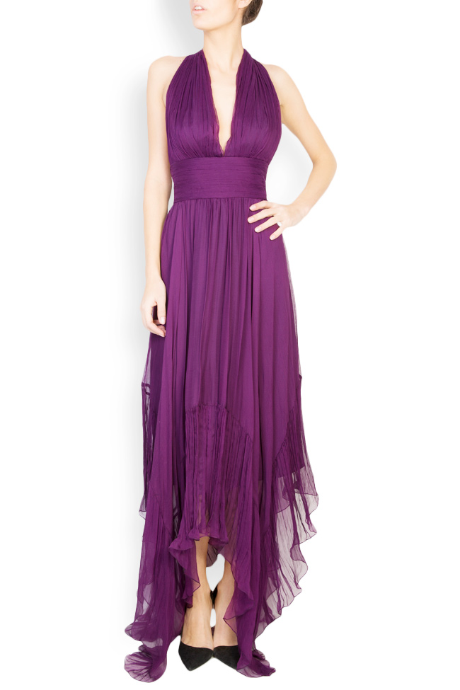 Vanessa asymmetric open-back silk mousseline gown Maia Ratiu image 0