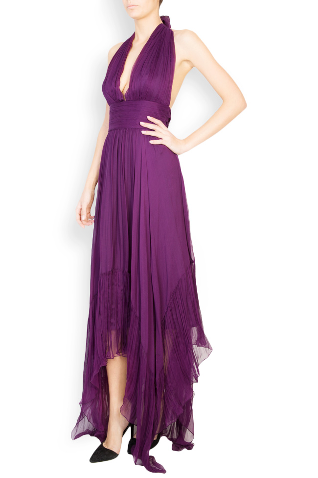 Vanessa asymmetric open-back silk mousseline gown Maia Ratiu image 1