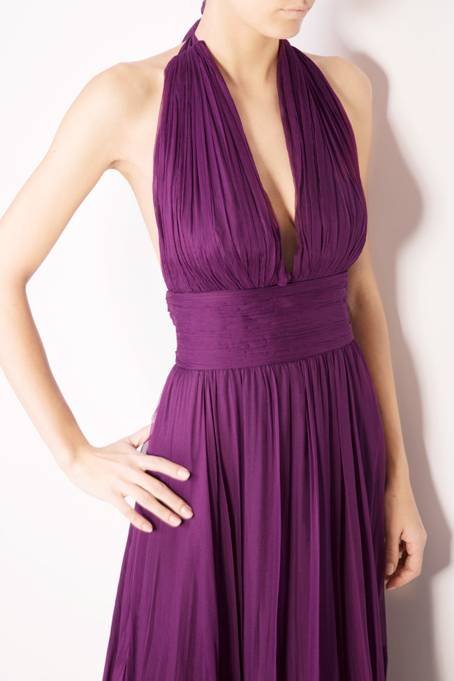 Vanessa asymmetric open-back silk mousseline gown Maia Ratiu image 3