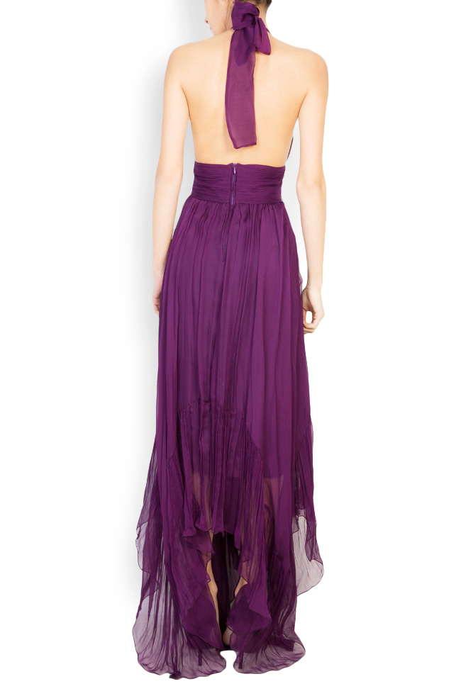 Vanessa asymmetric open-back silk mousseline gown Maia Ratiu image 2