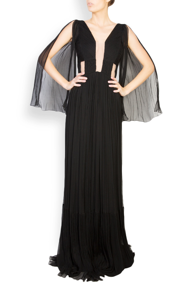 Calipso draped silk-mousseline maxi dress Maia Ratiu image 0
