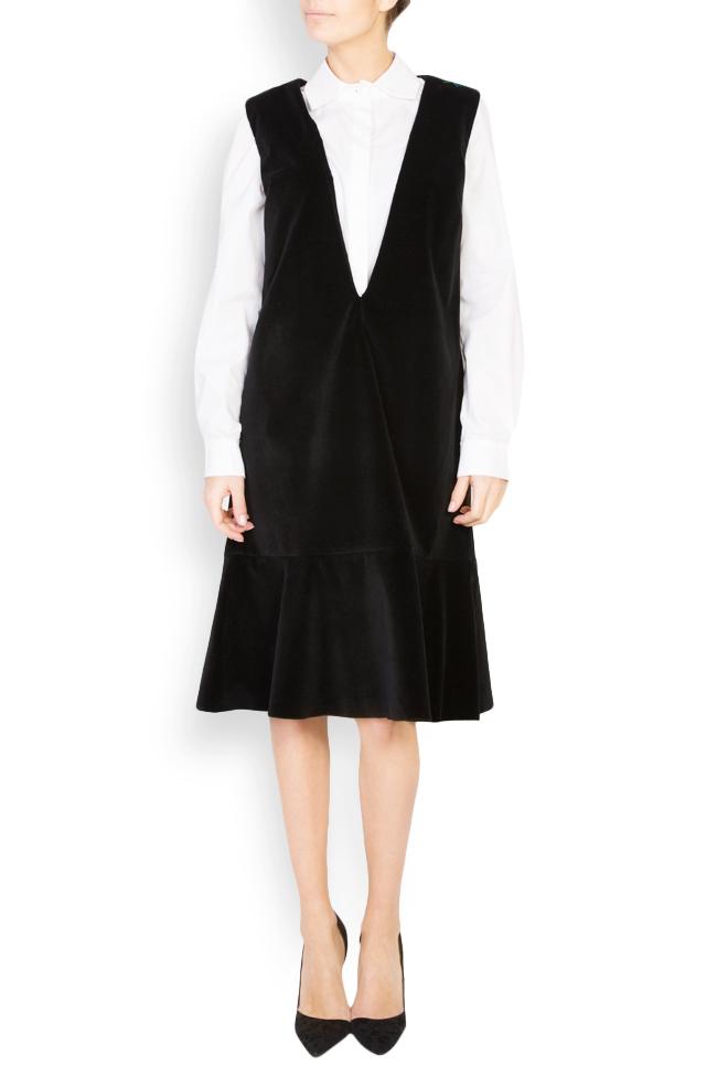 Robe chasuble en velours de coton brodée Maressia image 0