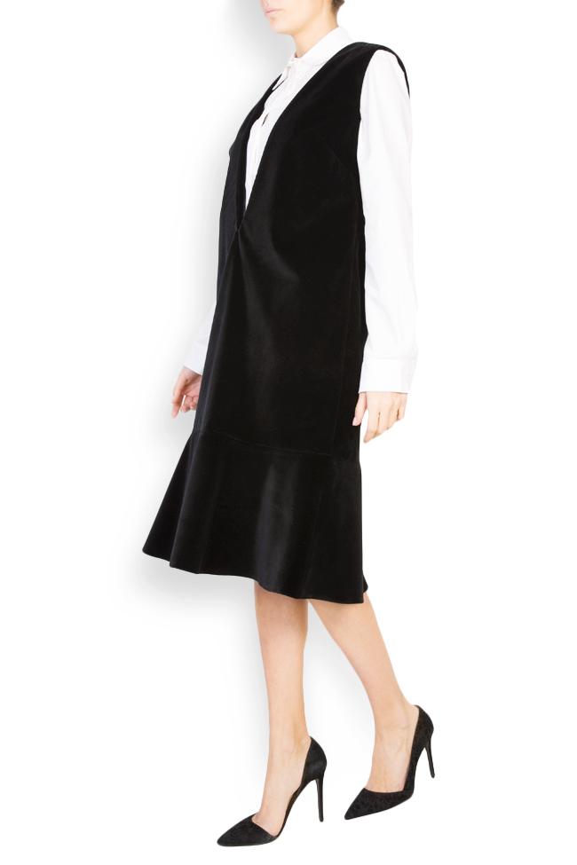 Robe chasuble en velours de coton brodée Maressia image 1