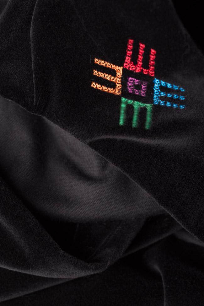 Robe chasuble en velours de coton brodée Maressia image 4