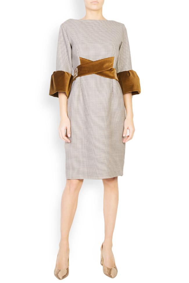 Rochie din stofa de lana cu insertii de catifea Maressia imagine 0