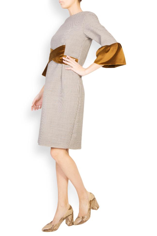Rochie din stofa de lana cu insertii de catifea Maressia imagine 1