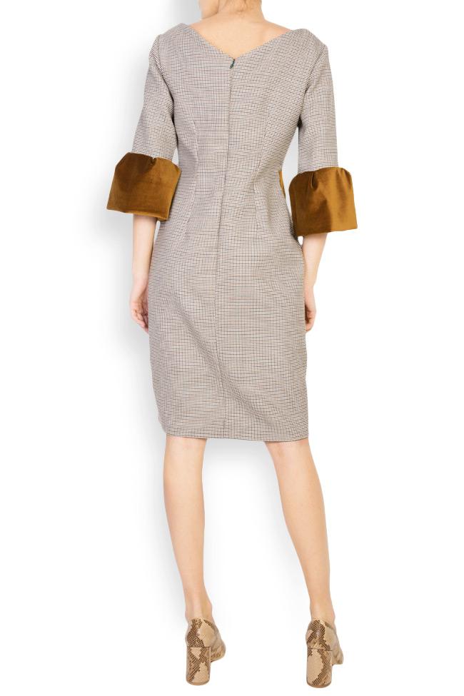 Rochie din stofa de lana cu insertii de catifea Maressia imagine 2
