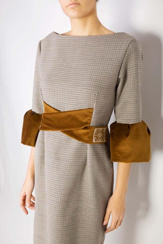 Rochie din stofa de lana cu insertii de catifea Maressia imagine 3