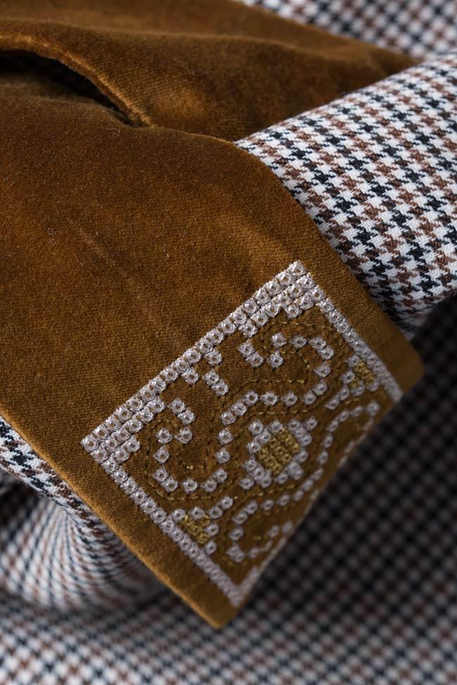Rochie din stofa de lana cu insertii de catifea Maressia imagine 4