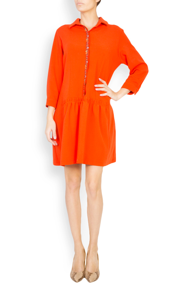 Embroidered wool-blend shirt-dress Maressia image 0