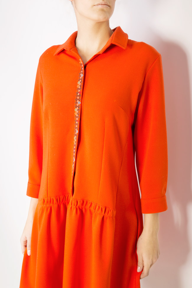 Embroidered wool-blend shirt-dress Maressia image 3